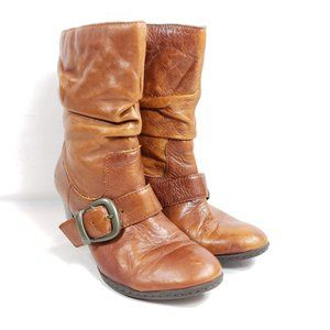 """Boc Heeled Boots Women's Size 6.5 Brown Leather 3"""""""